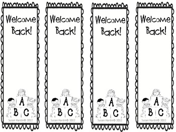 Beginning of School Year Bookmarks