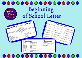 Beginning of the Year Letter (Editable!)