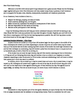 Beginning of School Year Letter for Parents