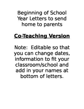 Beginning of School Year Letters to send to parents - For Co-Teachers