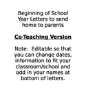 Beginning of School Year Letters to send to parents - For