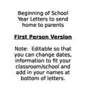 Beginning of School Year Letters to send to parents - For Single Teachers