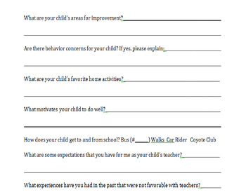Beginning of School Year Student Questionnaire