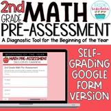 Beginning of Year 2nd Grade Math Pre-Assessment Google Form Distance Learning