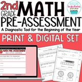 Beginning of Year 2nd Grade Pre-Assessment Print & Digital Set