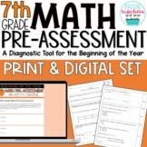 Beginning of Year 7th Grade Pre-Assessment Print & Digital Set