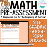 Beginning of Year 7th Grade Math Pre-Assessment Google Form Distance Learning