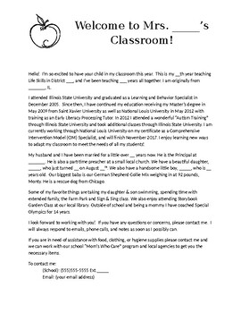 Beginning of Year- About the Teacher
