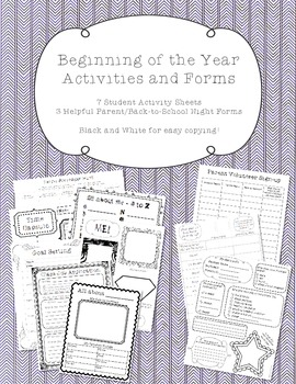 Beginning of Year Activities and Back to School Forms