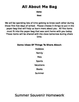 Beginning of Year Activities/Homework Ideas