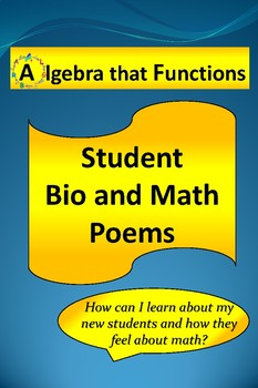 Back to School Activity Math Bio Poems