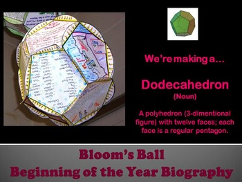 Back to School Bloom Ball Autobiography Project
