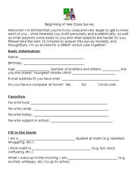 Beginning of Year Class Survey