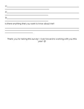 Beginning of Year Class Survey