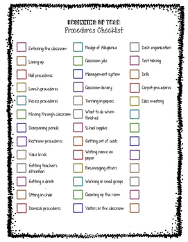 Beginning of Year Classroom Procedures List