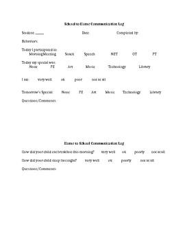 Beginning of Year Communication Log