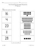 First Grade Math Assessment First Quarter or Beginning of Year
