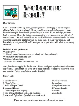 Beginning of Year Forms for a Special Education Classroom