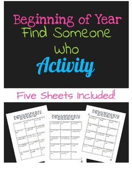 Beginning of Year Get to Know You Activity Find Someone Who