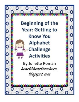 Beginning of Year Get to Know You Alphabet Challenge Activities
