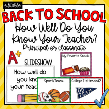 How Well Do You Know Your Teacher? (Editable)