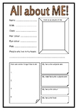 Beginning of Year - Getting to Know YOU Worksheets (4 to c