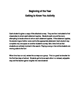Beginning of Year- Getting to Know You Activity