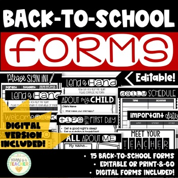 EDITABLE Back-to-School & Getting-to-Know-You Forms for the Teacher