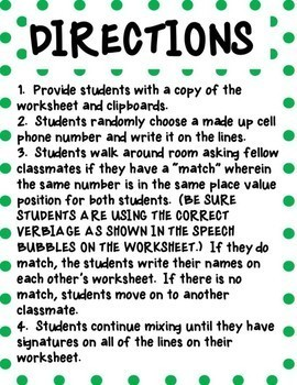 Beginning of School Year Getting to Know You Place Value Activity