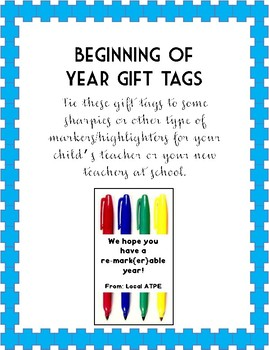 Beginning of Year Gift Tags