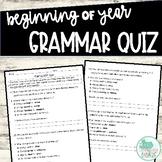 Beginning of Year Grammar Quiz