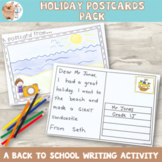 Back to School Holiday Writing Postcard Activity