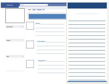 Ice Breaker/Back to School Fakebook- includes lesson outline and rubric