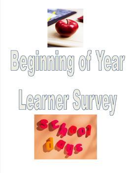 Beginning of Year Learner Profile/Goal Setting