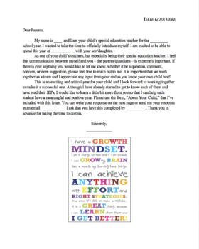 Beginning of Year Letter Home to IEP Students' Parents with Questionnaire