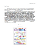 Beginning of Year Letter Home to IEP Students' Parents wit