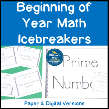 Math Beginning of Year Activities  and IceBreakers