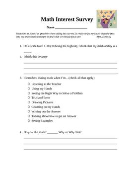 Beginning of Year Math Interest Survey