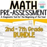 Beginning of Year Math Pre-Assessment BUNDLE 2nd - 7th Grades