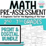 Beginning of Year Math Pre-Assessment Print & Digital BUNDLE 2nd - 7th Grades