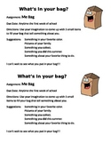 """Beginning of Year """"Me Bags"""" Instruction Page"""