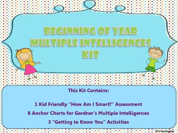 "Beginning of Year Multiple Intelligences ""Getting To Know You"" Kit"