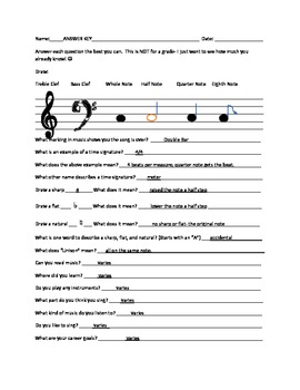 Beginning of Year Music Theory Inventory Test