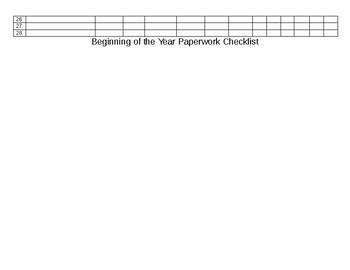 Beginning of Year Paperwork Checklist