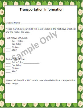 Beginning of Year Parent Info Form