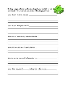 Beginning of Year Parent Questionnaire - Frog