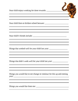 Beginning of Year Parent Questionnaire - Tiger