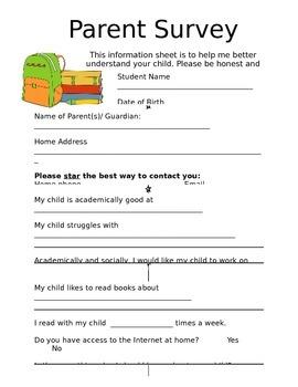 Beginning of Year Parent Survey