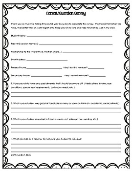 Beginning of Year Parent Survey