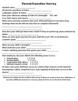 Beginning of Year Parent Survey- Editable